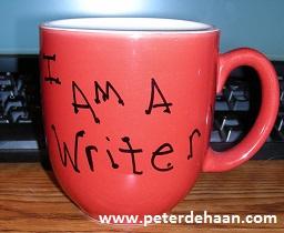 """Mug displaying """"I am a writer."""""""