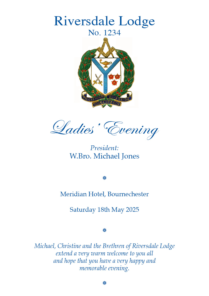 Ladies Night Masonic Print Menus Ladies Festival Evening