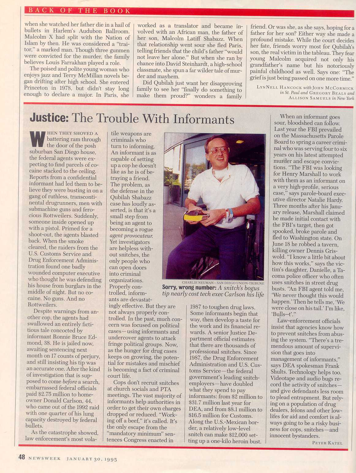 Peter Katel – The Trouble With Informants – NEWSWEEK Magazine (1995)