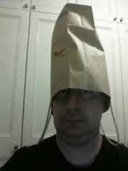 The Author Wearing a Paper Bag on His Head