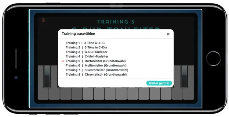 Ear-Trainer-Keyboard-AMADEUS-auf-dem-Smartphone-Trainingswahl