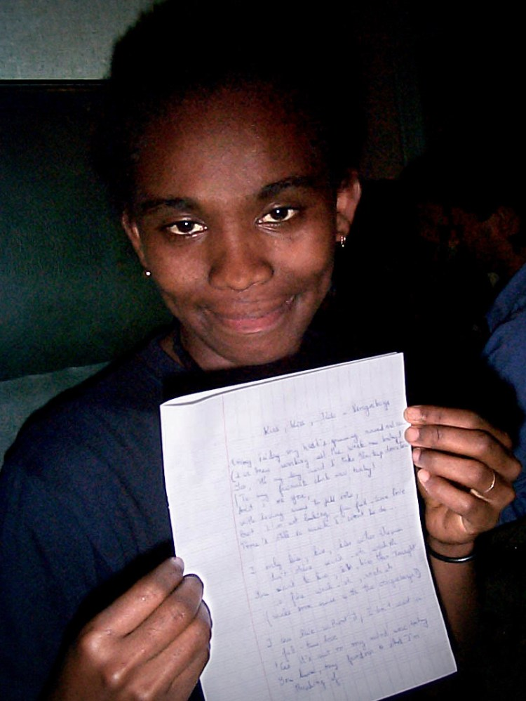 A happy customer: transcribed Vengaboy lyrics on a train in Madagascar