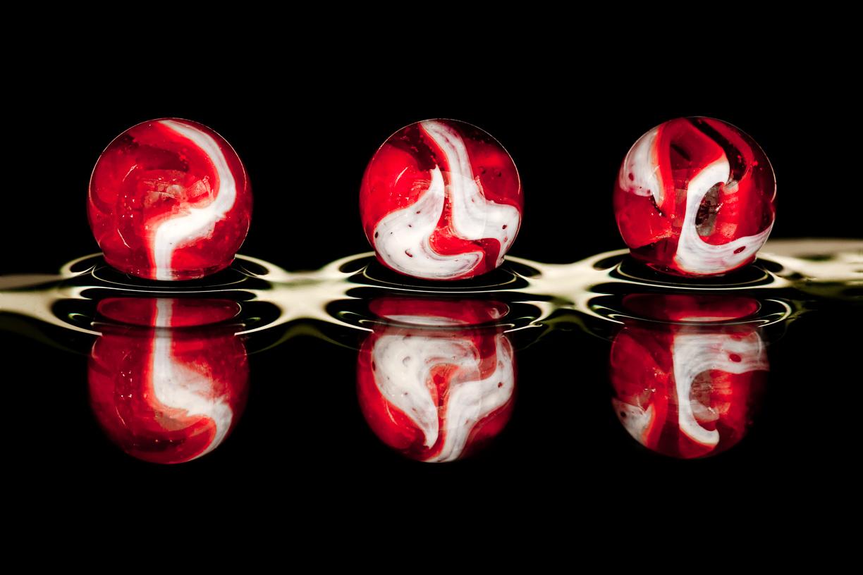 Knikker, kleur, rood, contrast