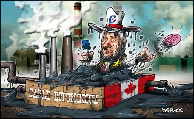 Harper in tar sands bath ygreck journal de montreal 64f1739422aad5b20895edfbdf6dd74f
