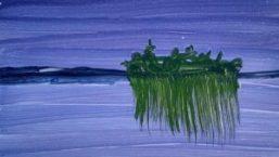 Dark Blues Landscape mid part of painting