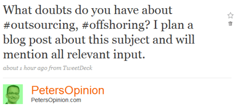 What doubts do you have related to outsourcing?