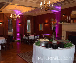 Uplighting at the Lincklaen House, Cazenovia, NY. Purple color selected by client.