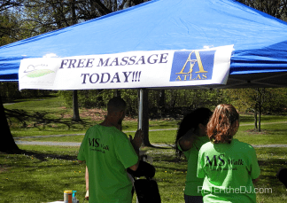 Free massages for participants to relax after their walk.