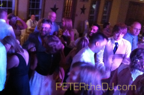 DJ booth view on Annie and Josh's wedding at The Red Mill Inn, Baldwinsville, NY.