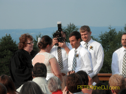 Ceremony: officiant has a wireless lapel mic, which picks up the bride and groom.