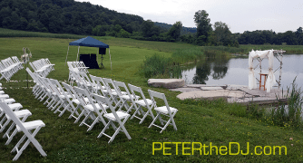 Outdoor cerermony space at Wolf Oak Acres in Oneida, NY. It was raining while I was setting-up, but luckily the sun reappeared in time for the ceremony!