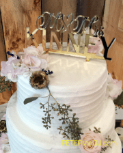 Close-up of the custom topper on Aubrey and Bill's wedding cake