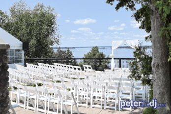 Ceremony seating, speaker to far left, sound system was inside the tent.