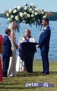 Outdoor ceremony: Chris and Ashley's wedding at Lake Shore Yacht & Country Club, Cicero, NY