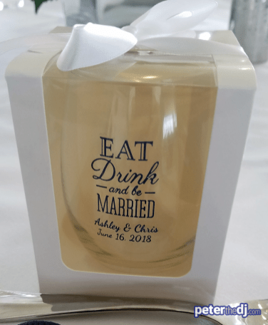 Personalized wine glass favor: Chris and Ashley's wedding at Lake Shore Yacht & Country Club, Cicero, NY