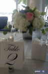Table centerpieces: Chris and Ashley's wedding at Lake Shore Yacht & Country Club, Cicero, NY