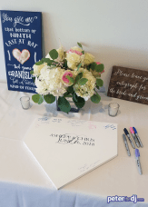 Baseball-themed wedding guestbook: Chris and Ashley's wedding at Lake Shore Yacht & Country Club, Cicero, NY