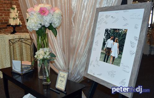 """Gift table and """"guestbook"""" photo frame at Kara & Jordan's wedding reception at SKY Armory, Syracuse, NY."""