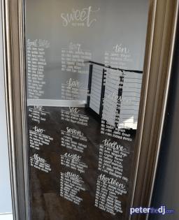 Seating arrangements handwritten on a mirror at Kara & Jordan's wedding reception at SKY Armory, Syracuse, NY.