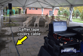 Safety-minded DJ setup for Emily and Nick's wedding at Tailwater Lodge, Altmar, NY. Photo by DJ Peter Naughton. October 2018
