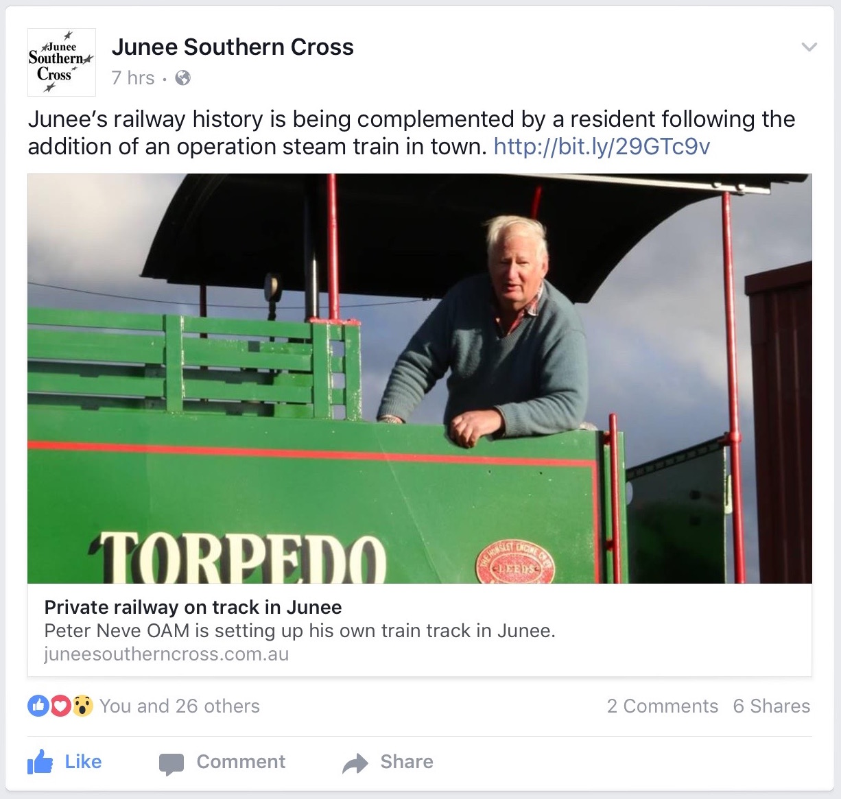 Private Railway on track in Junee - Junee Southern Cross Facebook Page