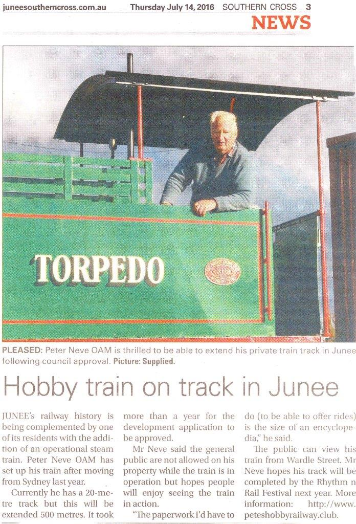 Hobby train on track in Junee