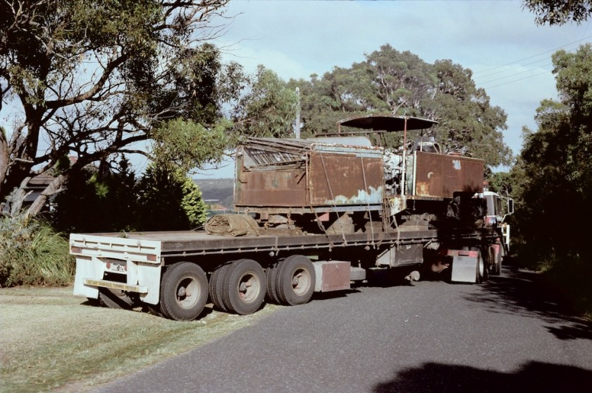 1983.12.04: The Fowler arrives by road to Loftus and the Weavering Light Railway – February 1983.