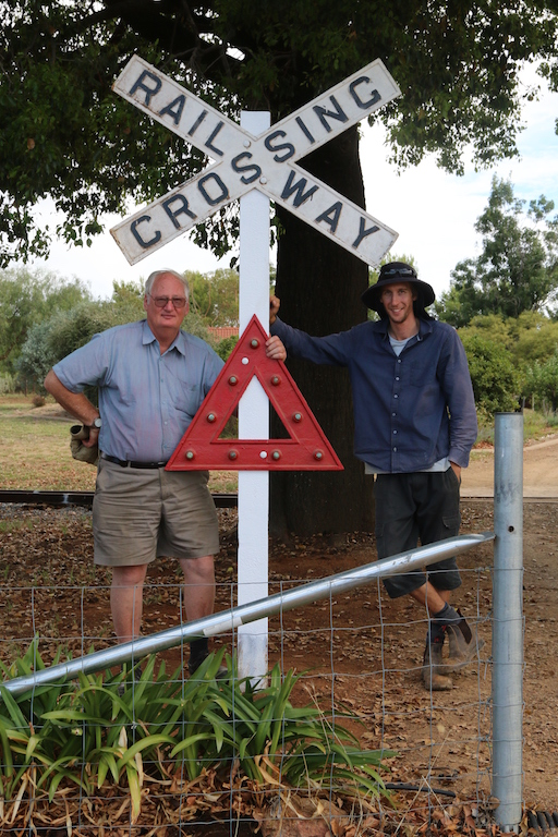 "Image 2017.1375: The newly installed cast iron heritage level crossing sign – ""found"" by Rhys and Lenny a few weeks earlier for sale at the Wagga Hobbies Exhibition. Not too many of these around in such a good condition! Photo by Ben O'Malley on Saturday 4th February."