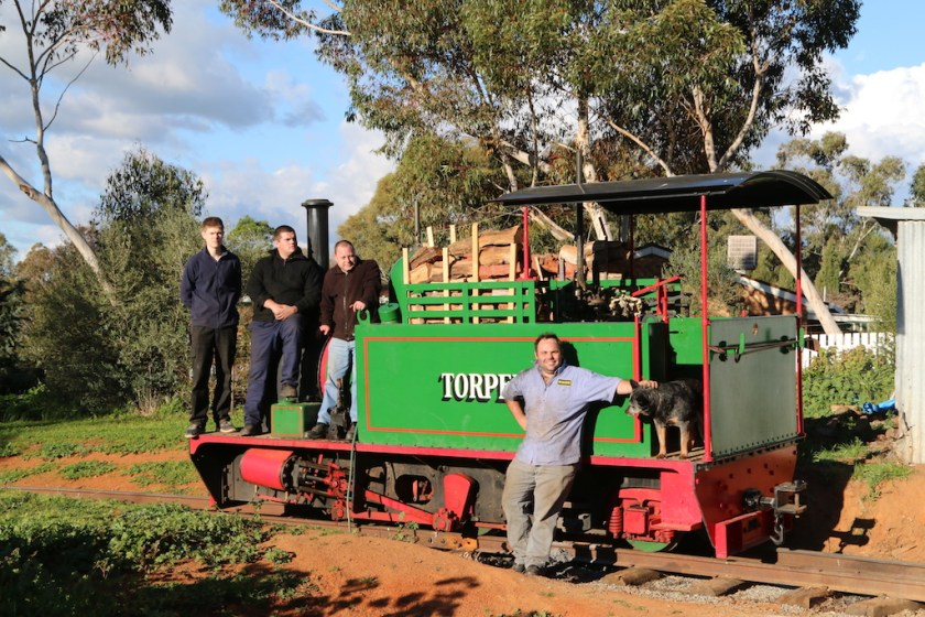 Image 2017.3988: The lads went overboard to ensure that Torpedo was fully fuelled for the next day's steaming. Rhys, Caleb, Ben, Matt and Dozer (the dog!). Thursday, 24/9/2017.