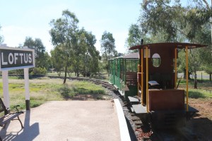 The Ruston, with carriages, at rest on the end of Loftus Station, Pete's Hobby Railway Junee