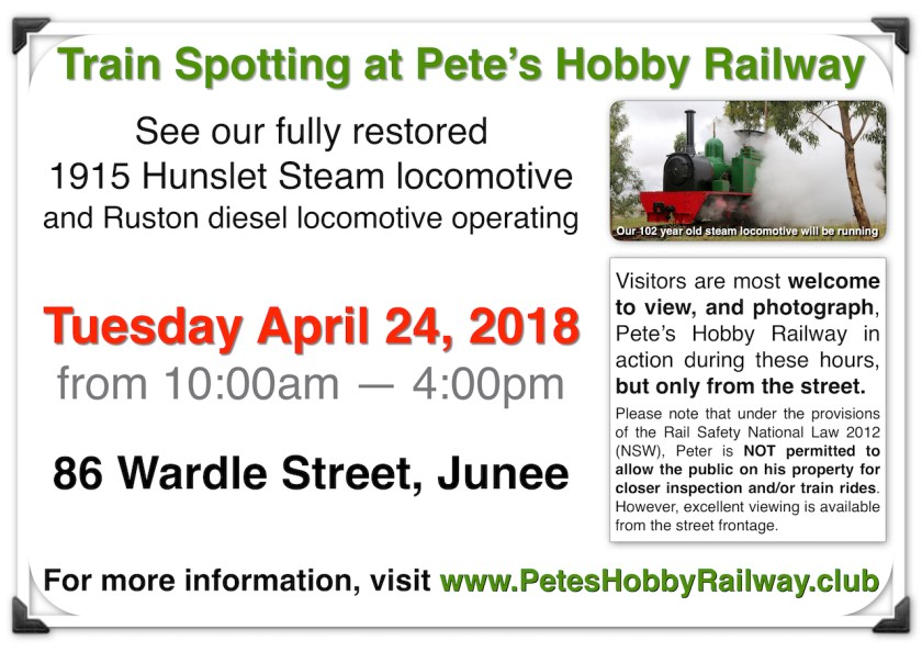 Train Spotting @ Pete's Hobby Railway. April 24, 2018