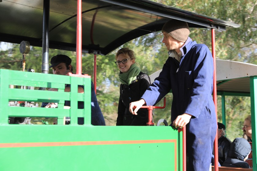 Image 9. Steph, who is very pro-rail, couldn't resist the offer to join Matt and Josh in the cab of the Hunslet steam locomotive … even having a short drive (under Matt's close supervision!).