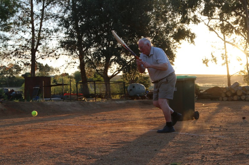 Image 2018.3400: Don Bradman (ie, me!) hits the ball for a six! Taken by Rhys on my camera.