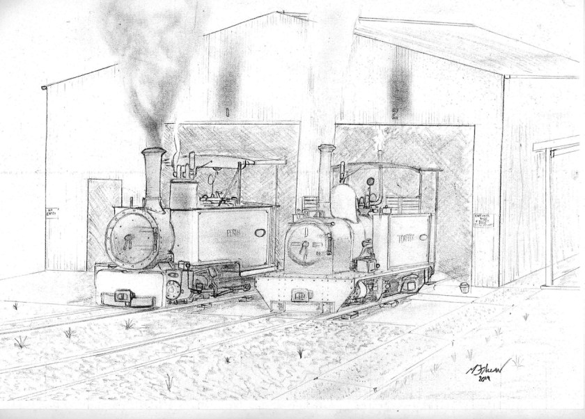 4. Matt Allan has pencil sketched his interpretation of how the new storage, servicing and maintenance shed will look. Being optimistic, both the Fowler and Hunslet locomotives stand proudly in steam at the eastern end of the shed. Hopefully, this may be the situation by the end of this year. Fingers crossed!
