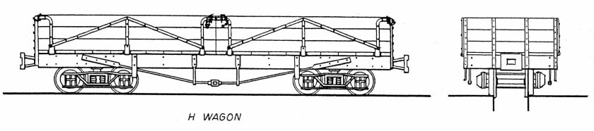 "Image 1: (Drawing) H-type open goods wagon as built. Drawing by John Armstrong from ""The Innisfail Tramway"" publication."