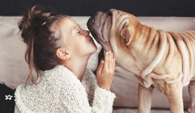 Picture of child and dog