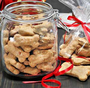 Picture of dog cookies in a jar in the kitchen