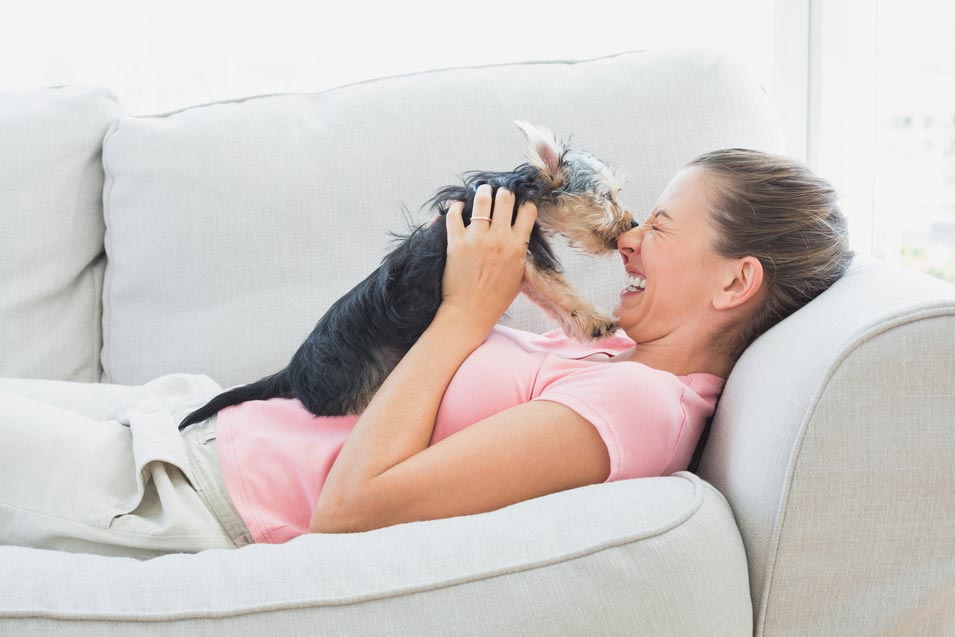 Picture of woman and her dog on a sofa