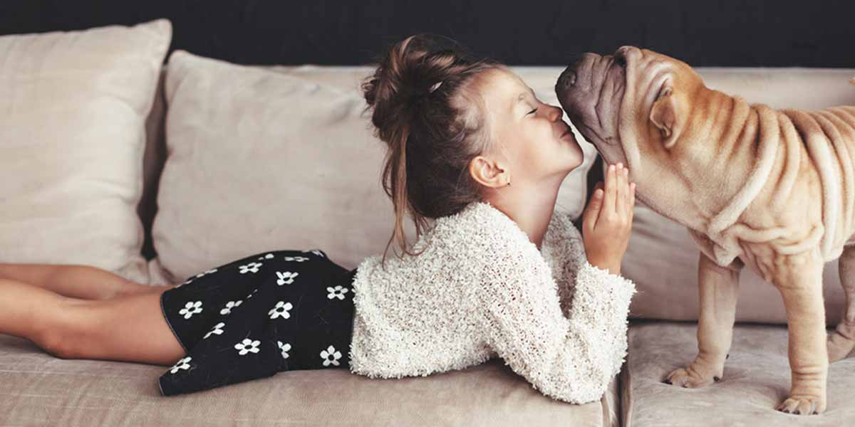 Picture of a girl kissing a dog on the sofa