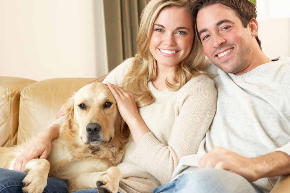 Picture of husband and wife on the sofa with a Golden Retriever