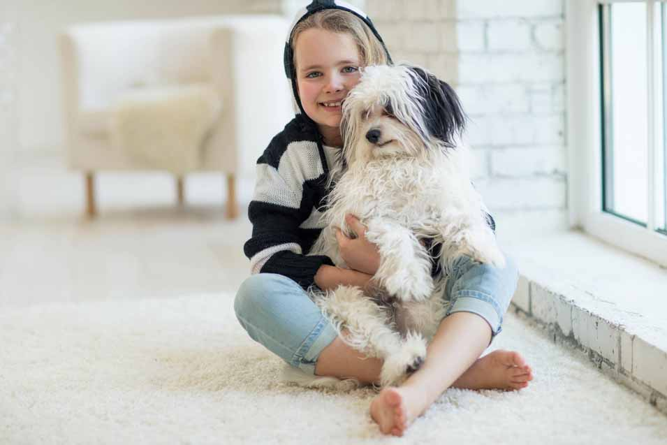 Picture of young girl holding a Havanese puppy