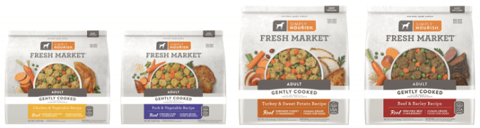 Photo showing the 4 different recipes of Simply Nourish Fresh Market Adult Frozen Dog Food