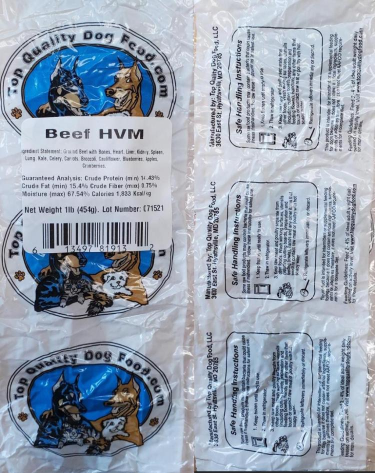Label of Top Quality Dog Food Beef HVM product