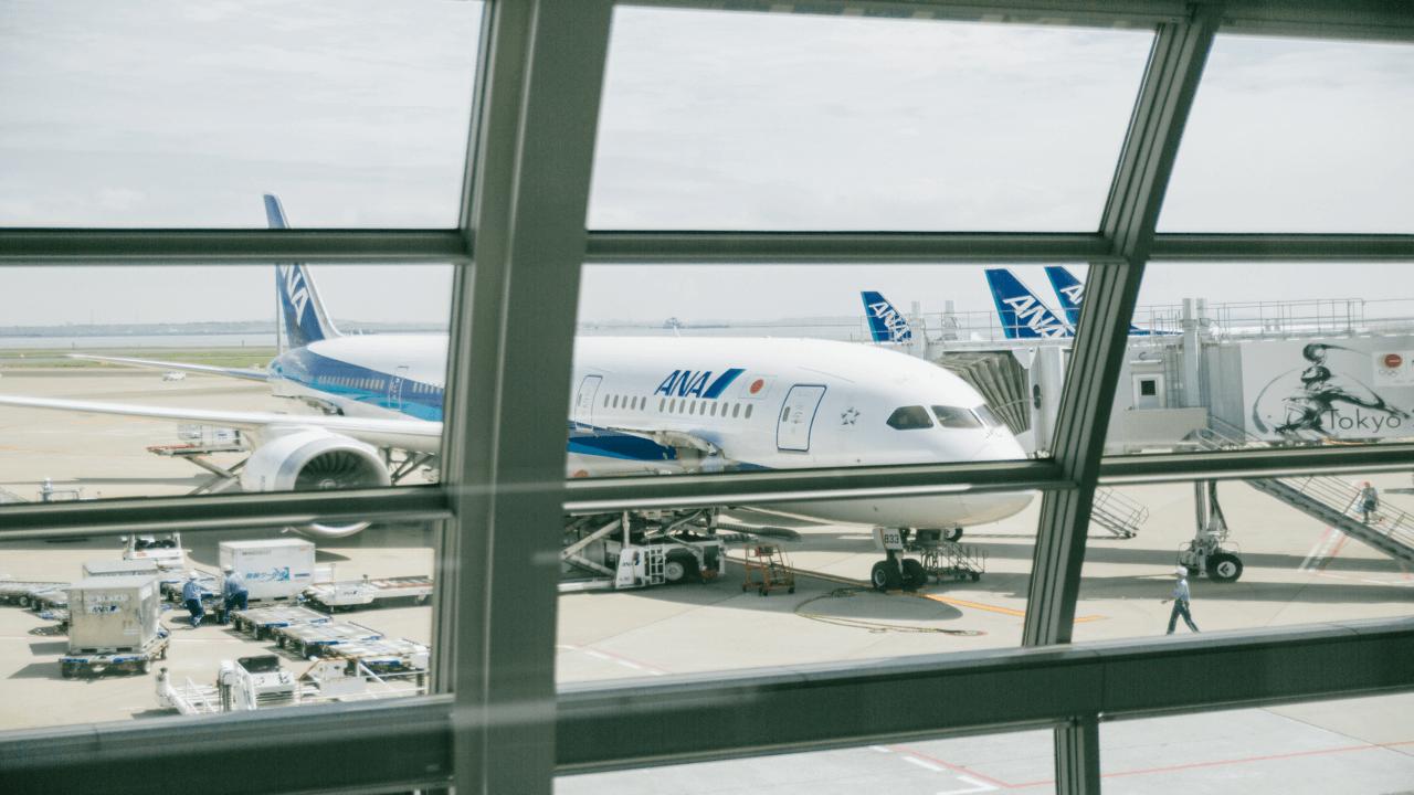 空港から見える飛行機
