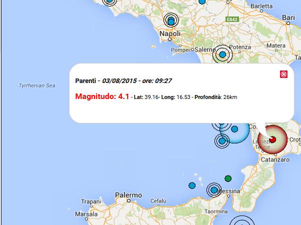 Scossa di terremoto Epicentro a Parenti, avvertito anche nel crotonese