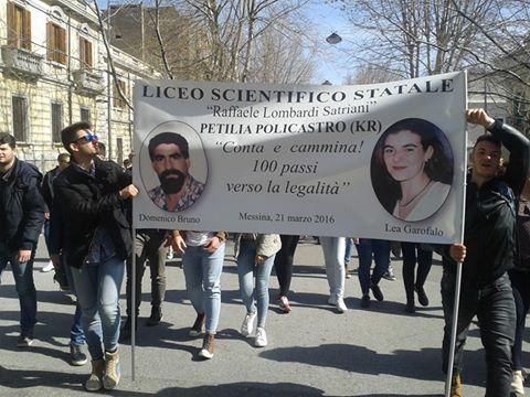 100 liceali di Petilia alla Giornata della memoria e dell'impegno in ricordo delle vittime di tutte le mafie