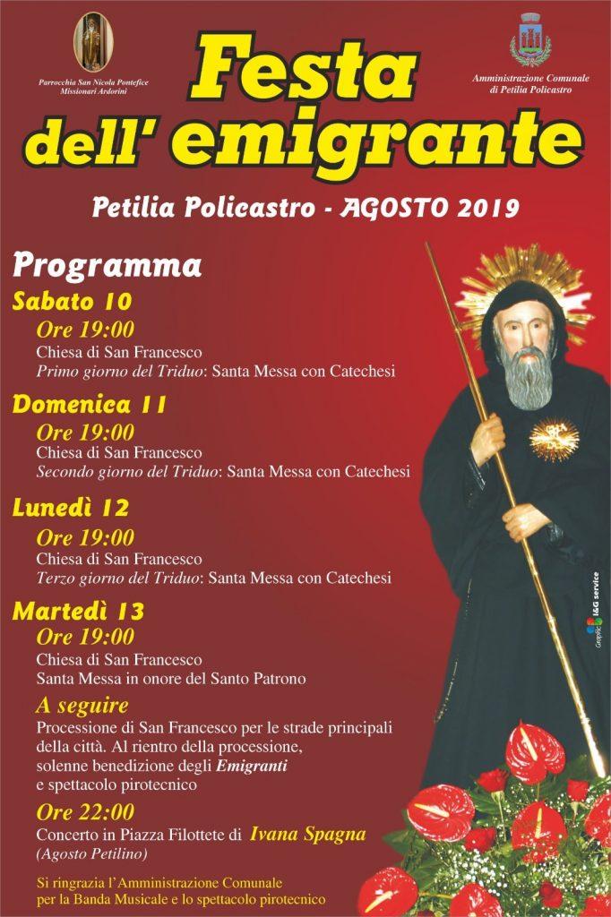 Festa dell'emigrante con processione di San Francesco di Paola