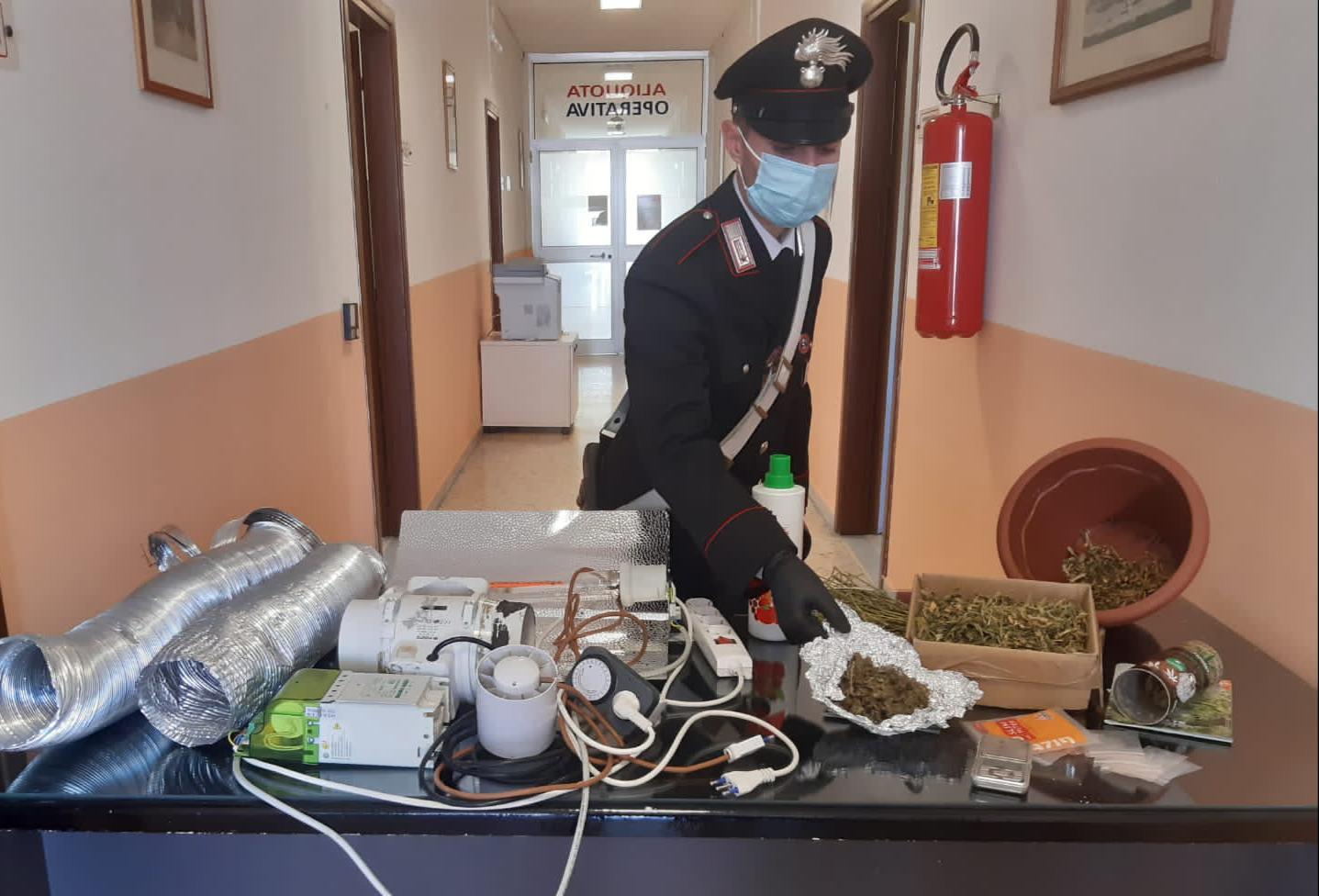 Detenzione di sostanza stupefacente, ricettazione e furto di energia elettrica: un arresto