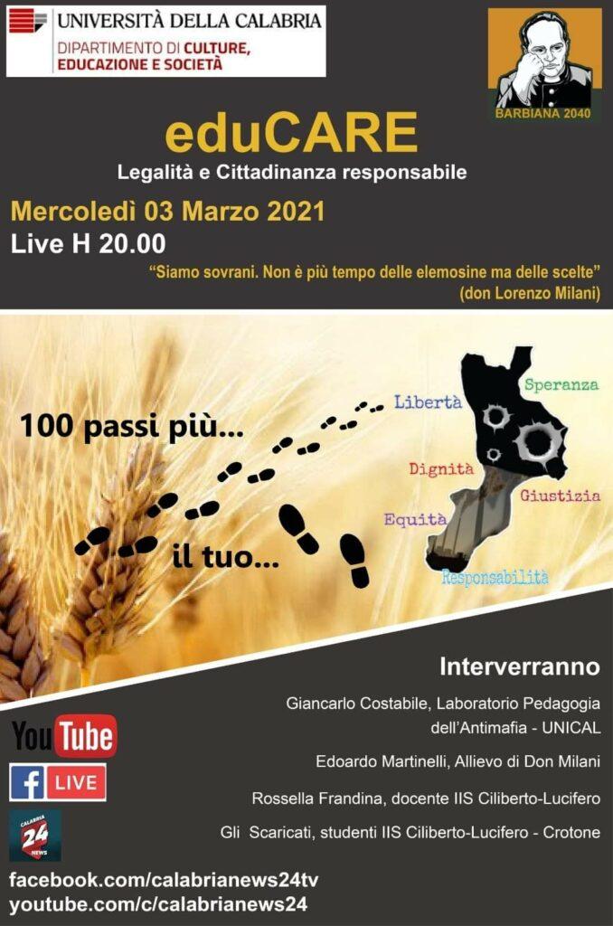 Unical, Barbiana 2040 incontra gli studenti del Ciliberto di Crotone: webinar sull'educazione alla cittadinanza responsabile e alla legalità