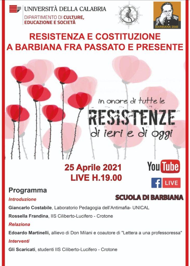 Unical, domenica 25 aprile seminario di Barbiana 2040 e Istituto Ciliberto di Crotone su Resistenza e Costituzione nella pedagogia di Don Milani